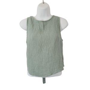 🎃Lulu's Crinkle Tie Back Sleeveless Crop Top Sz M